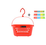 Merkloos Clothespin basket + Clothespins 30 Pieces - Clothespin bag - Clothespin bag - Clothespin basket - Clothespins plastic for Clothesline