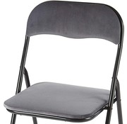 Discountershop Folding chair with seat height of 43 cm Folding chair velvet seat and back covered - table chair chair - table chair Velvet folding chair - Luxury folding chair - With cushions Chairs - Folding chairs - Chair - Premium chair - Gray