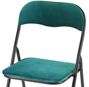 Discountershop Folding chair with seat height of 43 cm Folding chair velvet seat and back covered - chair - table chair - table chair - folding chair - Velvet folding chair - Luxury folding chair - With cushions - Chairs - Folding chairs - Chair - Premium chair - blue t