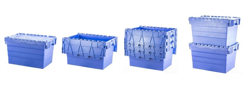 Attached Lid Tote Boxes Stacking Options