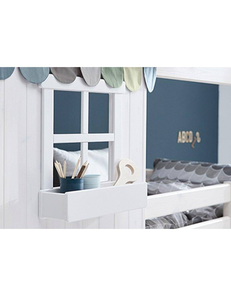 Flexa Laag huisbed met twee vensters - White wash