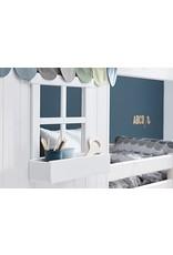 Flexa Halfhoog huisbed met venster - White wash