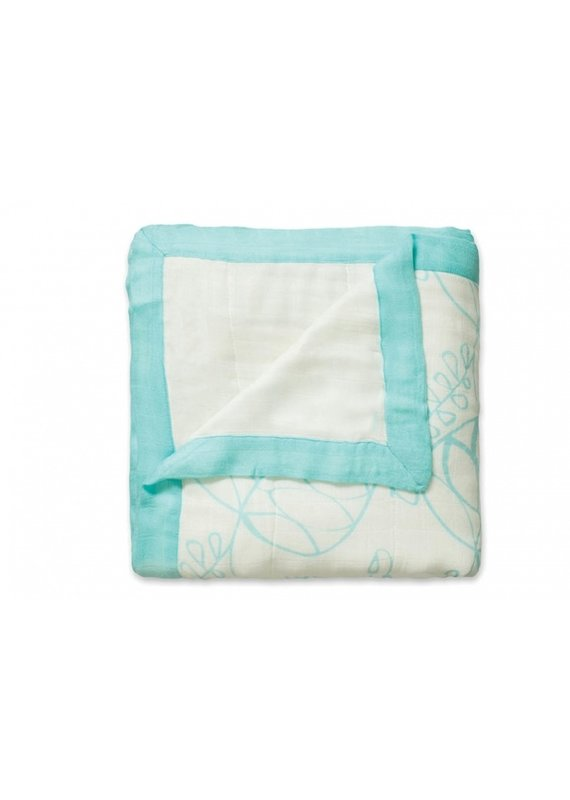 Aden + Anais Bamboo dream blanket | azure leafy