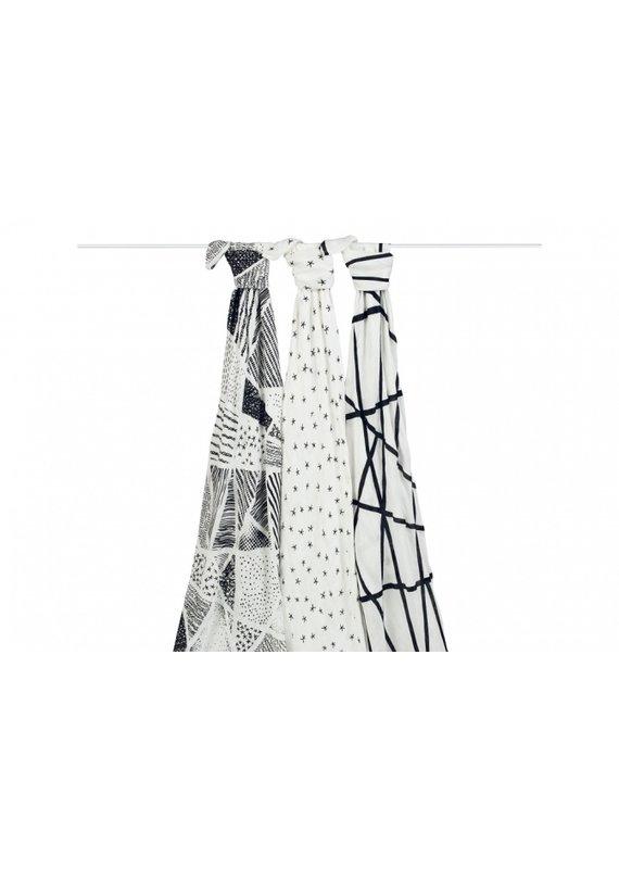 Aden + Anais Inbakerdoeken bamboo   black & white   set van 3
