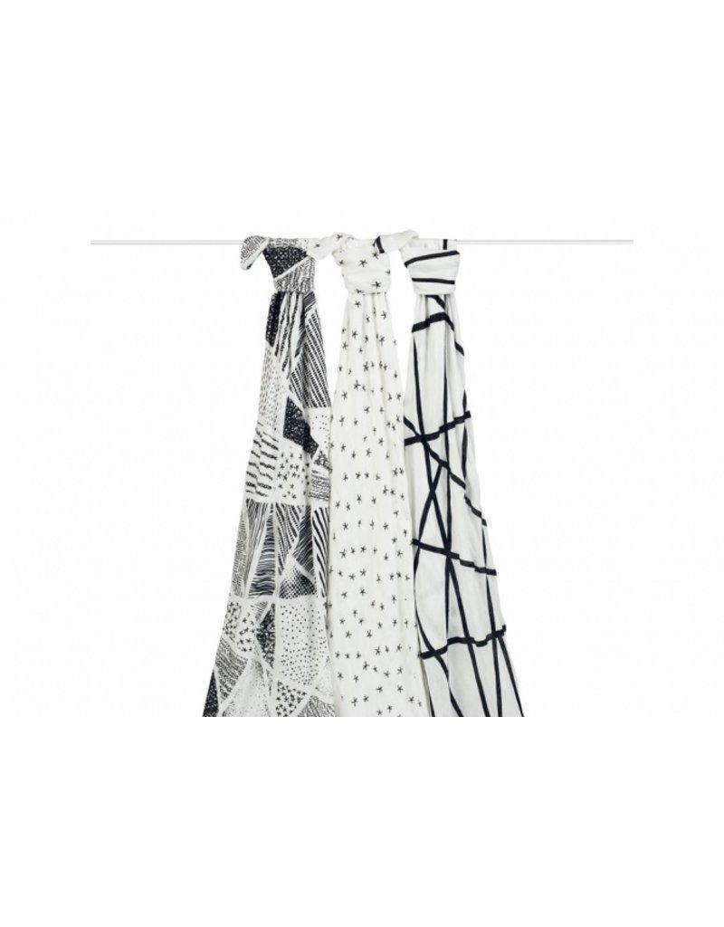 Aden + Anais Inbakerdoeken bamboo | black & white | set van 3