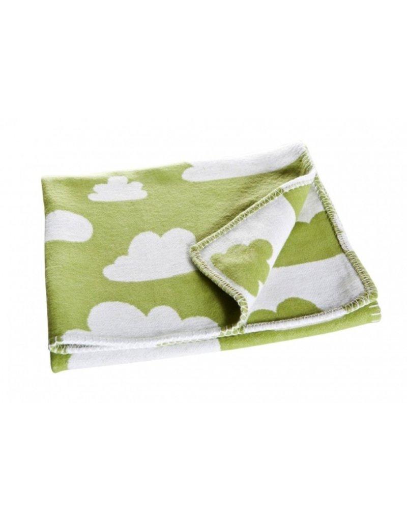Färg & Form Zacht wiegdekentje met wolkenpatroon - groen