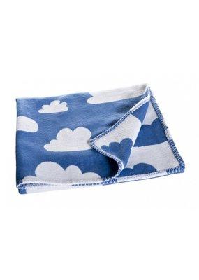 Färg & Form Zacht wiegdekentje met wolkenpatroon | blauw