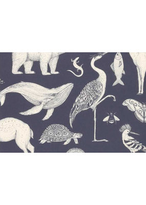 Ferm Living Behangpapier Animals | dark blue