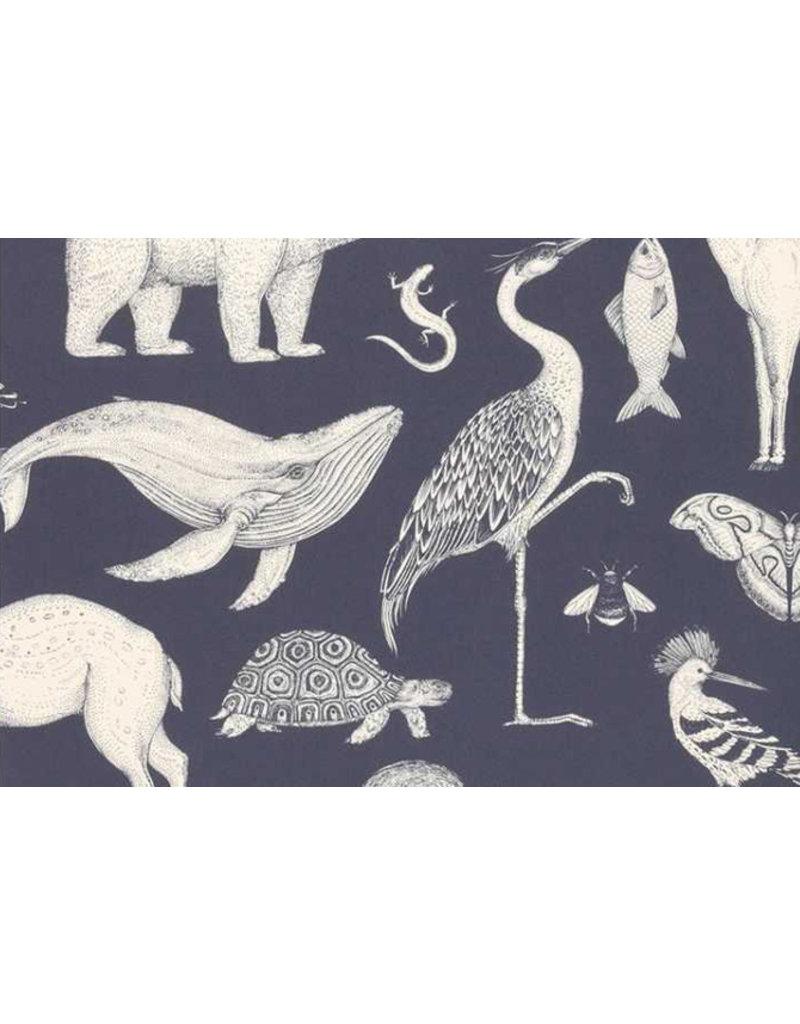 Ferm Living Behangpapier Animals - dark blue
