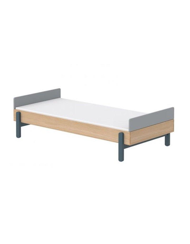 Flexa Popsicle Bed met hoofd- en voetenbord 90x200cm - eiken/bleuberry