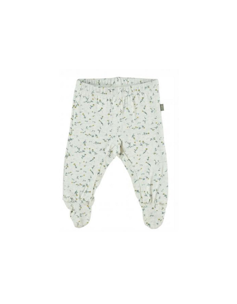 Kidscase Happy organic broek met voetjes -  off-white
