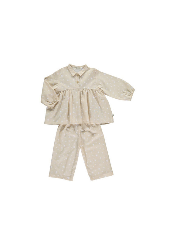 Nobodinoz Osaka short pyjama - sand white stars