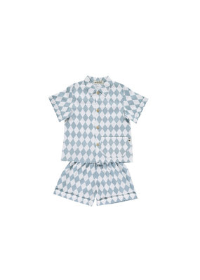 Nobodinoz Bangkok short pyjama - blue diamonds