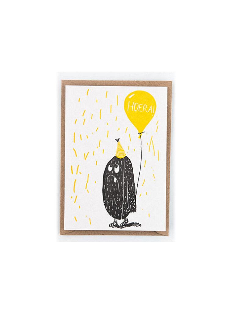 Studio Flash Greeting card - happy birthday gele ballon
