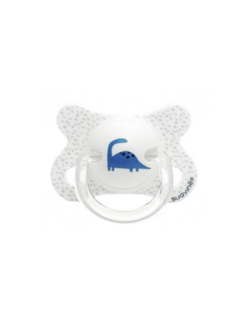 Suavinex Eerste fopspeen kersvormig silicone - 2 -4 m - dino white