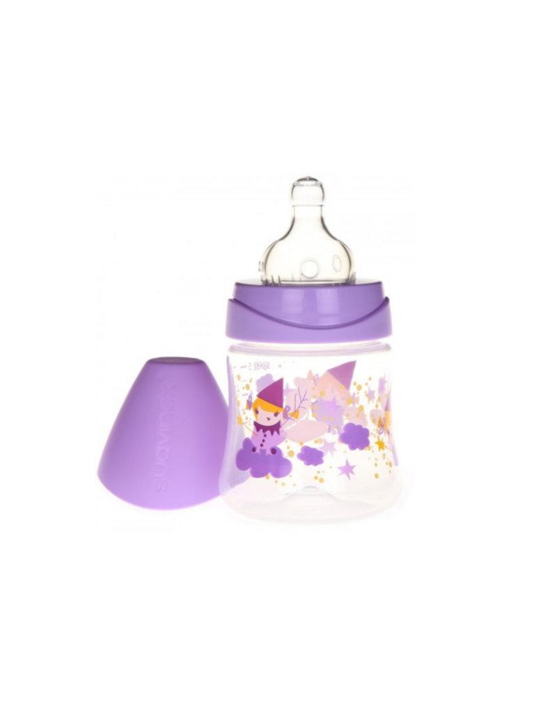 Suavinex Flesje ronde 1-2-3 speen 150 ml sillicone - fairy paars
