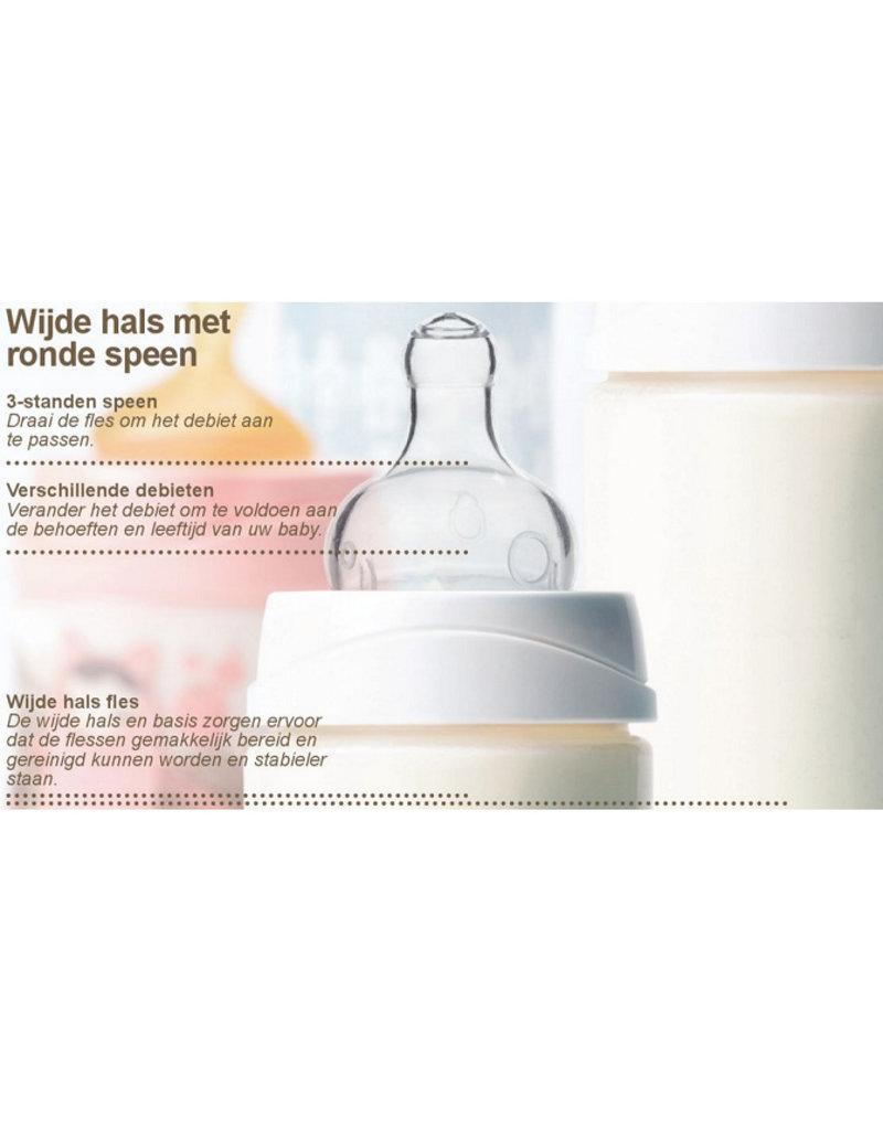 Suavinex Flesje ronde 1-2-3 speen 270 ml sillicone - fairy paars