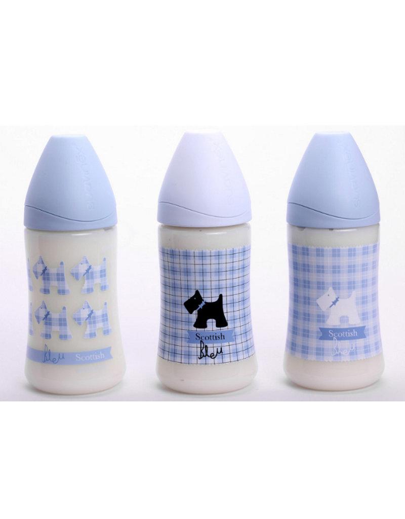 Suavinex Flesje anatomisch silicone M flow 270 ml - bleu hond