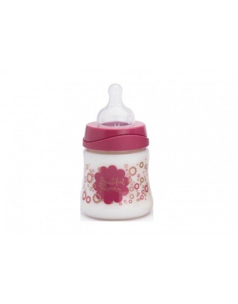 Suavinex Babyfles 150 ml silicone 1-2-3 speen - roze