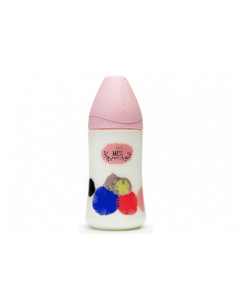 Suavinex Design babyflesje 270 ml anatomisch latex - a little mess pink