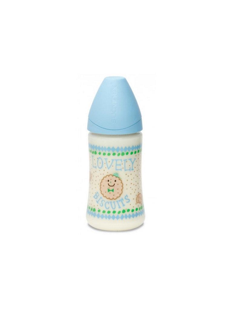Suavinex Design babyflesje 270 ml anatomisch latex - blue lovely biscuits