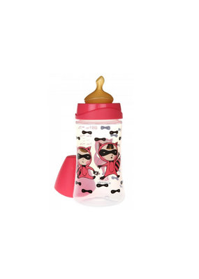 Suavinex Design babyflesje 270 ml anatomisch latex - pink hero