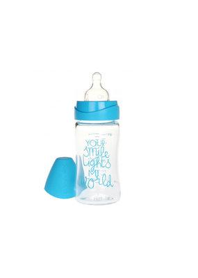 "Suavinex Glazen fles ""Meaningful life"" 210 ml - blauw"
