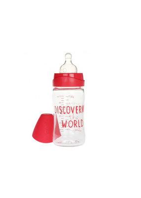 "Suavinex Glazen fles ""Meaningful life"" 210 ml - rood"