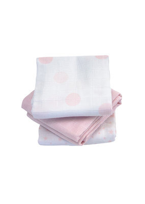 Kadolis Hydrofiel doeken roze print | set van 3