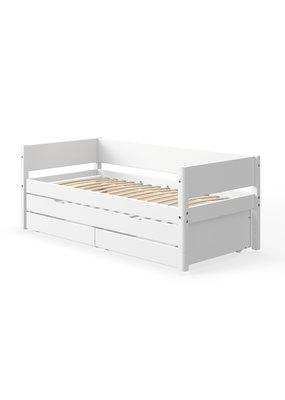 Flexa White bedbank met onderschuifbed en lades - wit