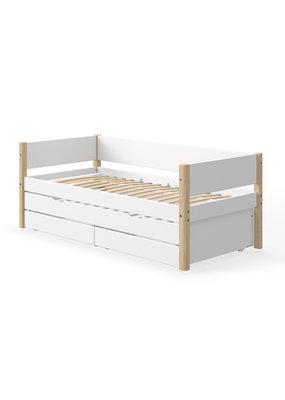Flexa White bedbank met onderschuifbed en lades - blank gelakt