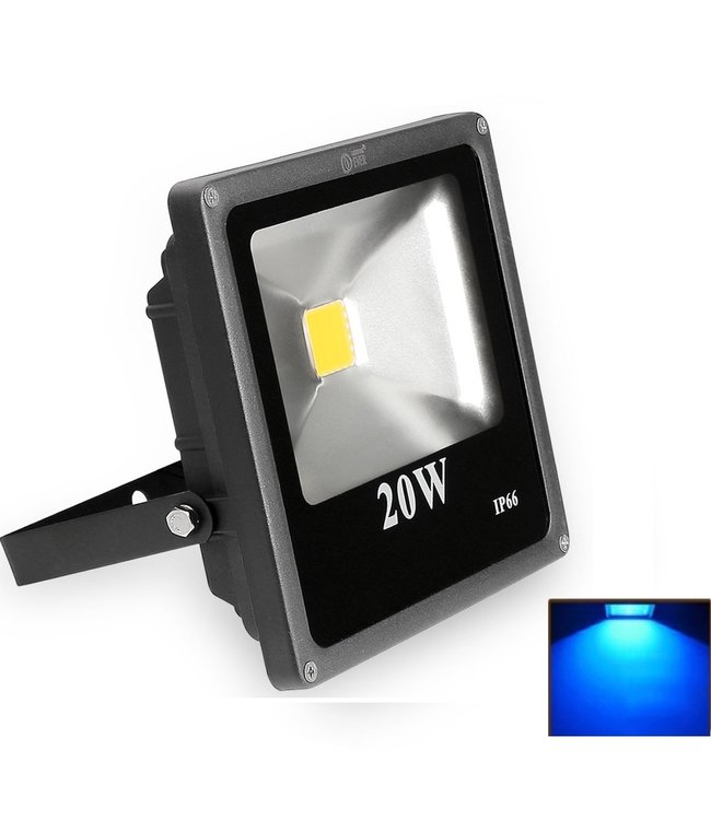 LED Bouwlamp Blauw - 20 Watt  - Plat