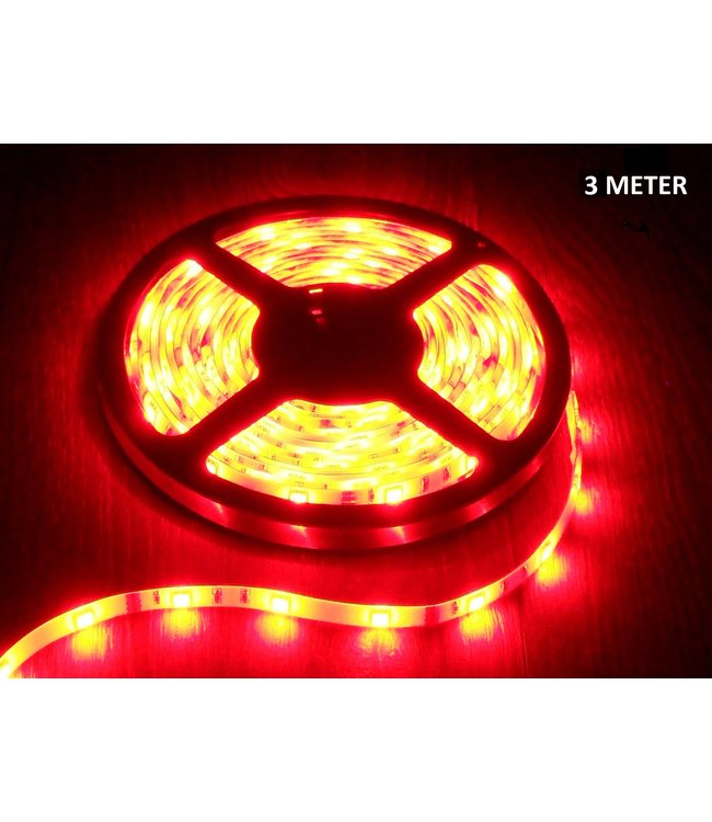 LED Strip Rood - 3 Meter - 60 LEDS Per Meter - Waterdicht