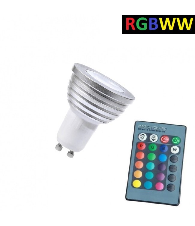 LED Spot RGB + Warm Wit - 5 Watt - GU10