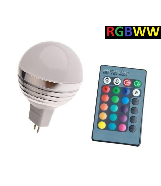 LED Bollamp RGB + Warm Wit - 5 Watt - MR16