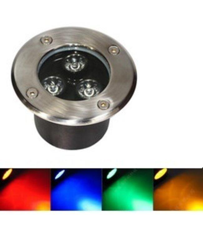 LED Grondspot  RGB - 9 Watt - Inbouw - 230 Volt - Met Afstandbediening