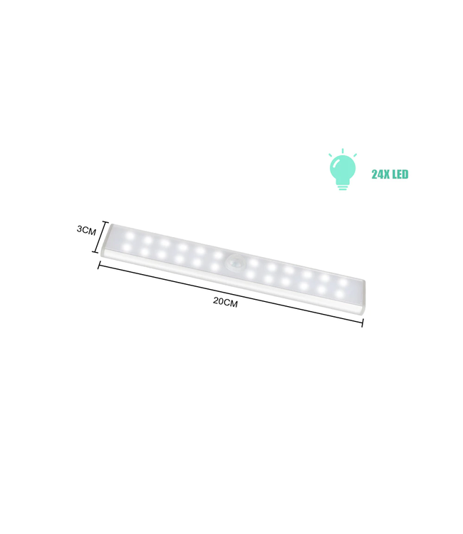 LED Kastverlichting USB - 20 cm - Met Sensor - Warm Wit