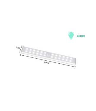 LED Kastverlichting USB - 20 cm - Met Sensor - Koel Wit