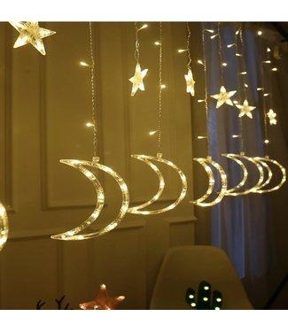 Kerst Gordijn Maan 3.5 x 1.0 Meter - Warm Wit