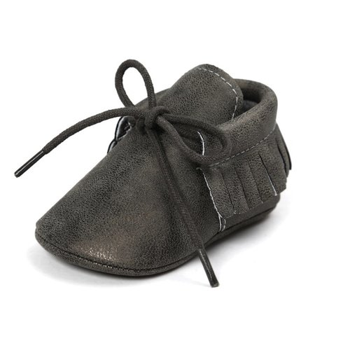 This Cuteness Baby Mocassins Leather Dark Grey