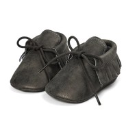 Baby Mocassins Leather Dark Grey