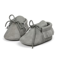 Baby Mocassins Leather Light Grey