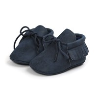 Baby Mocassins Leather Dark Blue