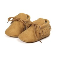Baby Mocassins Leather Ocher