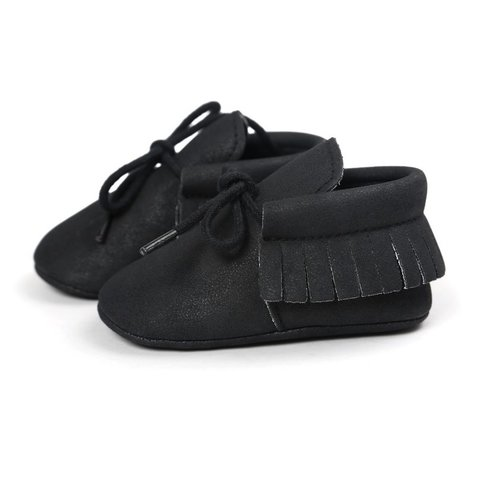 This Cuteness Baby Mocassins Leather Black