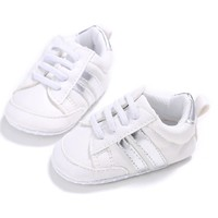 Baby Sneakers White Silver Stripes