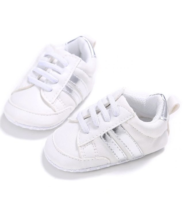 This Cuteness Baby Sneakers White Silver Stripes
