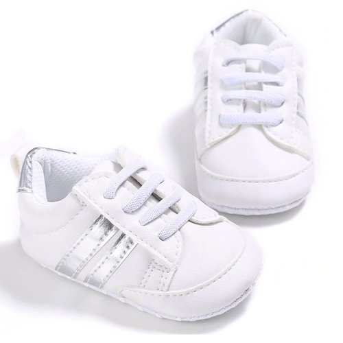 This Cuteness Baby Sneakers Broken White Silver Stripes