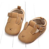 Baby Shoes Leather Ocher Bunny