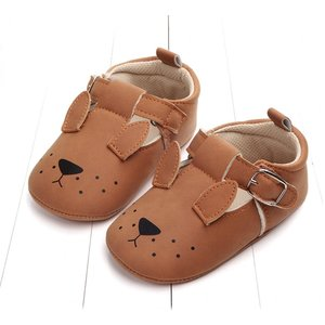 This Cuteness Baby Shoes Leather Brown Doggy